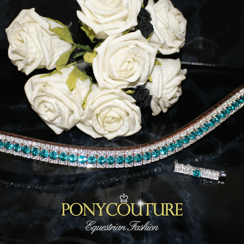 Beautiful Turquoise browband from PonyCouture's Triple Crown range of handmade crystal browbands. All of our handmade browbands come in sizes from small pony browbands up to XXFull bling browbands for big horses.
