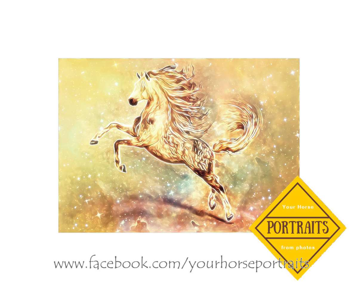 horse art multi media print with glitter accents for canvas printing