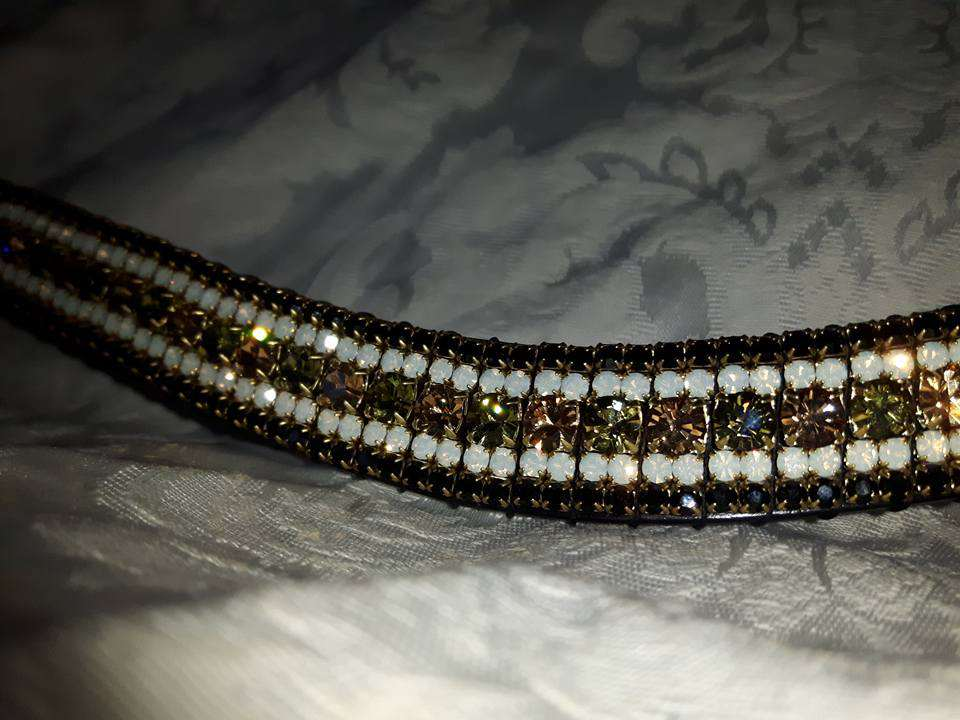 green and champagne crystal browband with preciosa khaki and light colorado crystals and white opal and jet edging