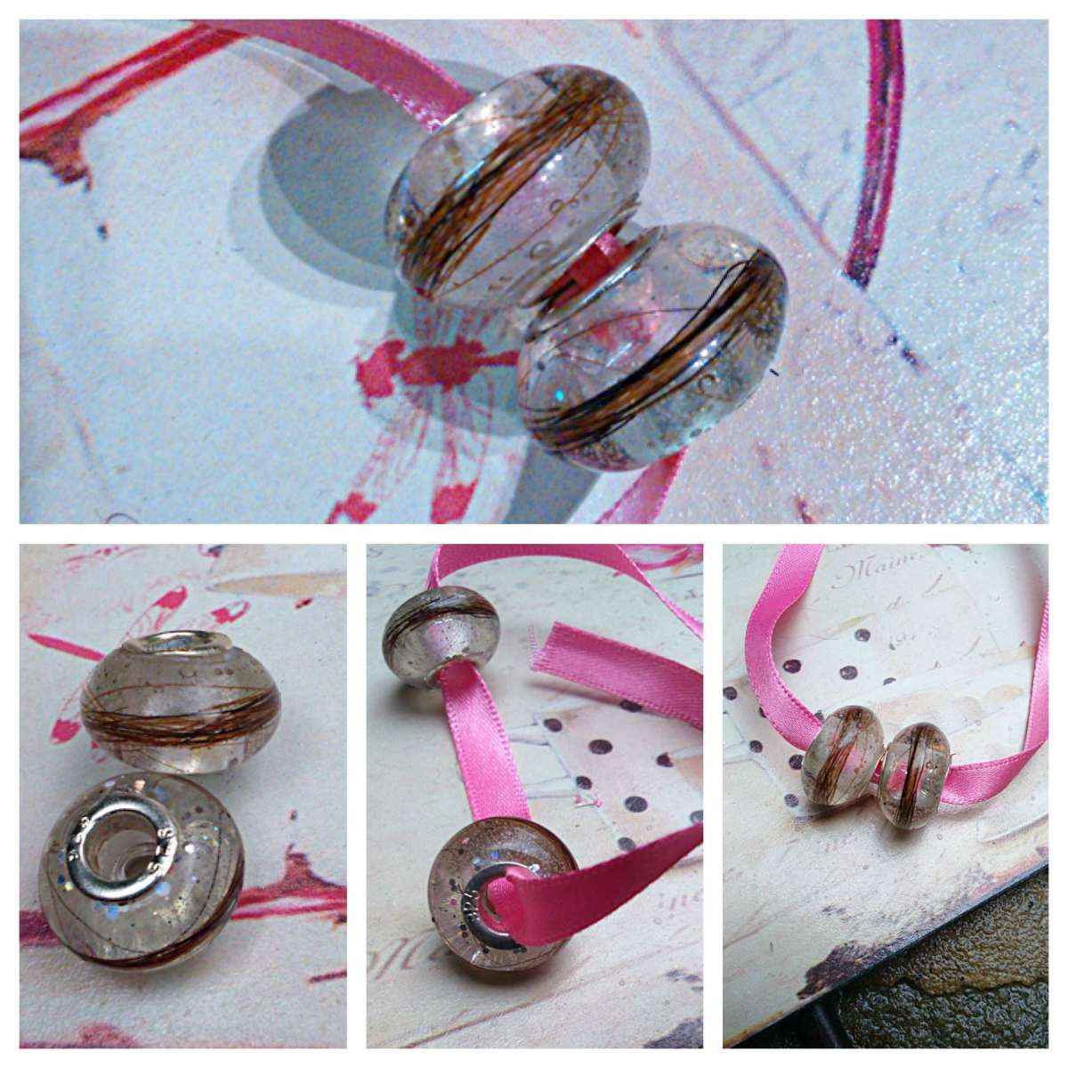 Glass Pandora style horse hair charms hand made in the UK by horse hair keepsakes