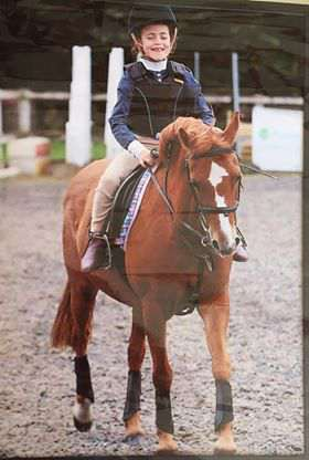 Maisie Farnham at a competition on her pony Fanta.