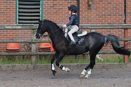 Maisie Farnham riding on her pony Louis.