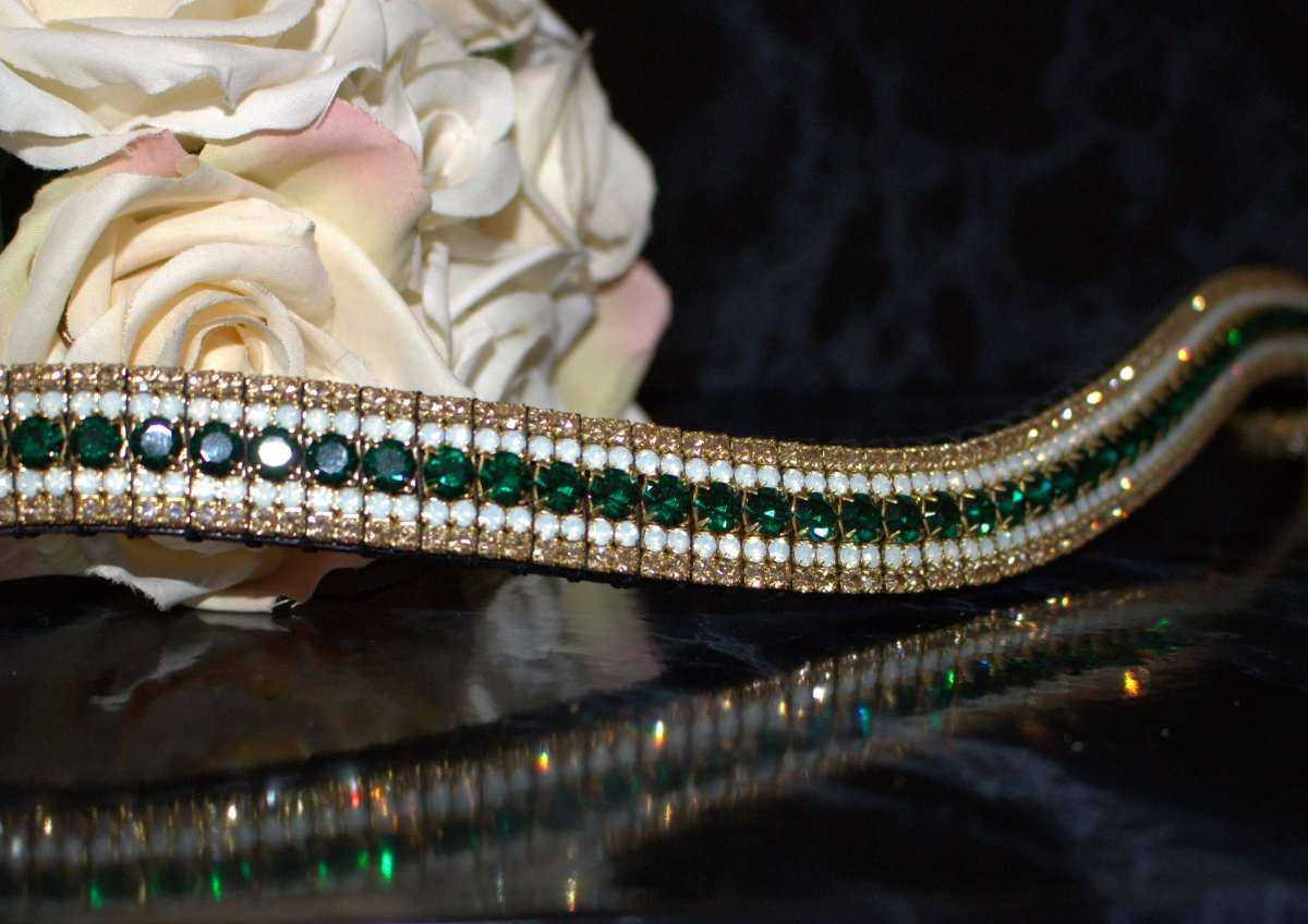 Emerald Gold Opal Bling Browband