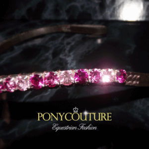 This elegant browband is from the Pixie Browband range and features a single row of twinkling pink Preciosa crystals and is handmade on Sedgwick English leather here by us in the UK. This Dainty Browband is perfect for horses and ponies with fine heads. PonyCouture make dressage