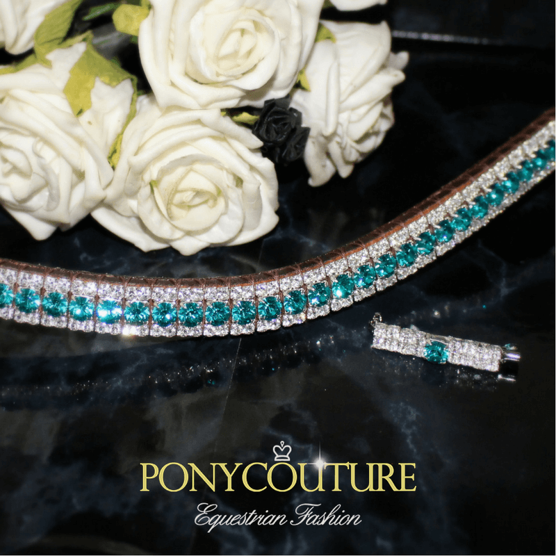 Turquoise browbands with clear crystal edging from PonyCouture these lovely rich blue zircon crystals are just divine when teamed with matchy saddle cloths and fly veils!