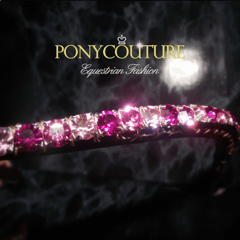 Close up photo of elegant bling browband on a black background featuring alternating pink crystals this lovely pink browband for ponies and pink crystal browband for horses is handmade by ponycouture