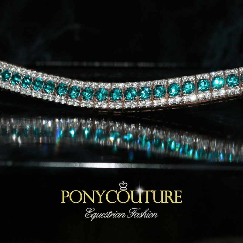 Blue Zircon and clear crystal browbands handmade bling browbands on Sedgwick English leather and featuring Preciosa crystals. Our best quality crystal browbands are handmade bling for horses.