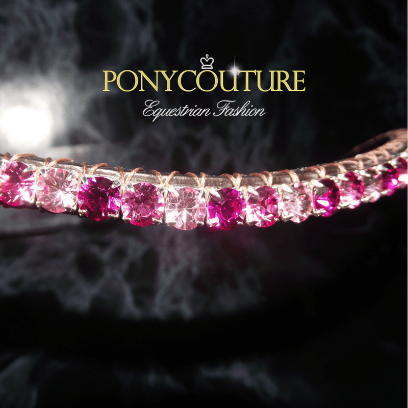 Alternating Pink Bling Browbands on black back ground by PonyCouture with elegant browband design and dainty style browband in the Pixie range