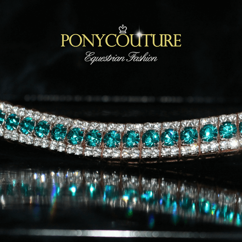 Turquoise bling browbands from PonyCouture's best quality bling browbands range that are handmade on Sedgewick English leather with quality Preciosa crystals.