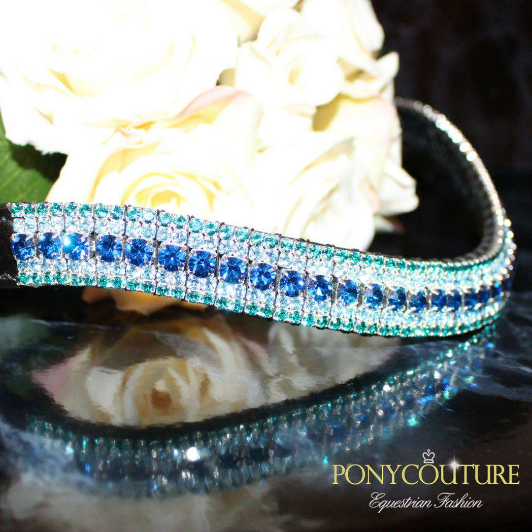 blue browband on black back ground cut to a wave shape bling browbands