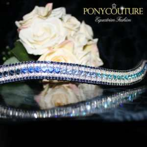 Navy Ombre Browbands from PonyCouture's handmade range of blue ombre crystal browbands and ombre bling browbands