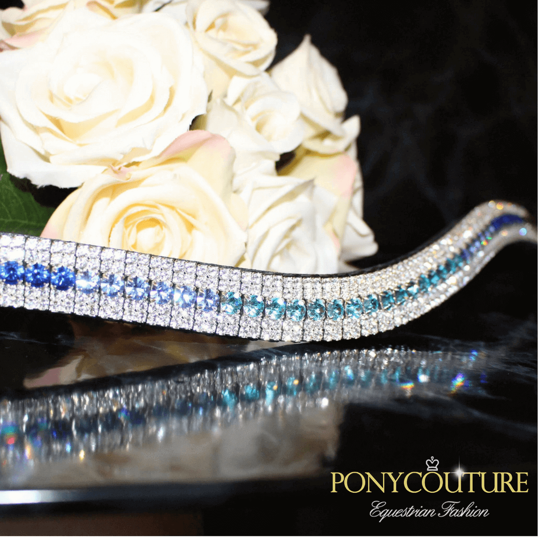the best blue ombre fade browband with sedgwick english leather and on a black back ground with a blue ombre browband and with a crystal browband
