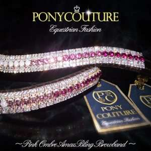 pink ombre browbands with an ombre fade design on a black background with preciosa crystals by ponycouture