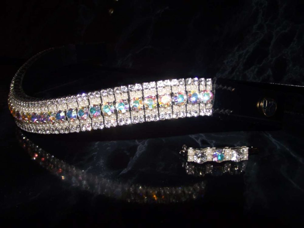 Best quality Pearl and Iridescent browband English leather