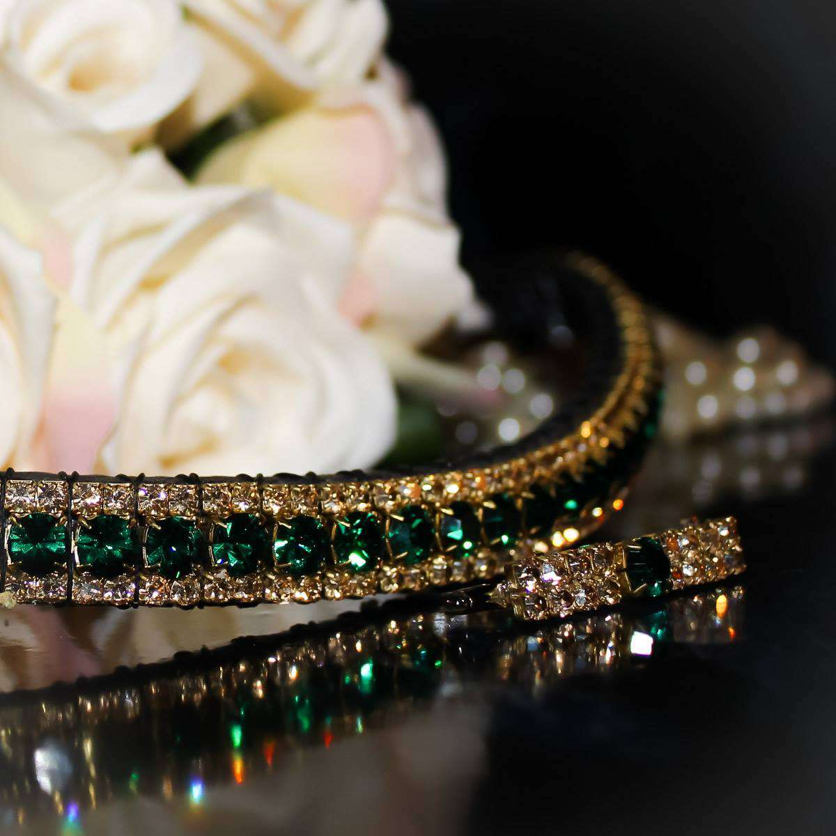 Emerald and golden honey classy antique look browband from PonyCouture's Triple Crown range of handmade crystal browbands with a golden browband and green browband and on a black back ground with matching stock pin