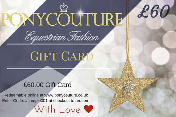 Christmas Gift Card from PonyCouture, to purchase crystal browbands and dressage bling, the perfect horsey gift