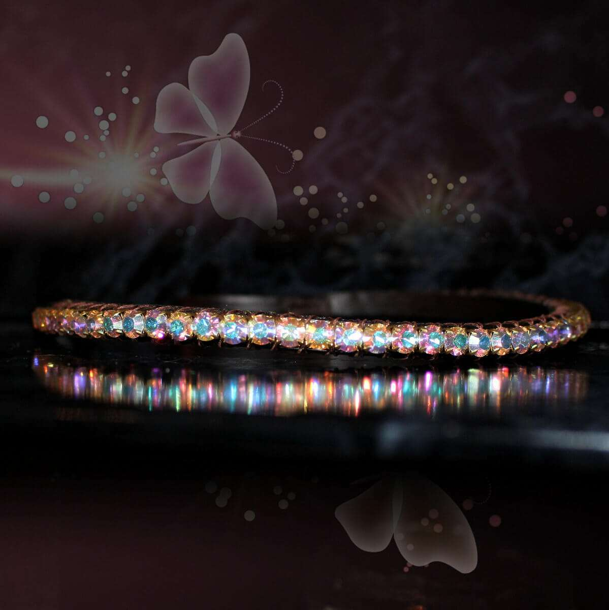 Elegant single row crystal browbands from PonyCouture's Pixie range of tasteful bling browbands