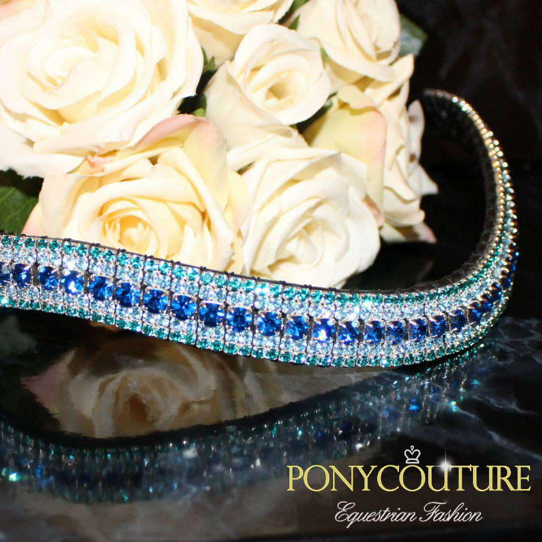 turquoise browbands and blue browbands on a black back ground on wave shape browbands sedgwick english leather and handmade bling browbands