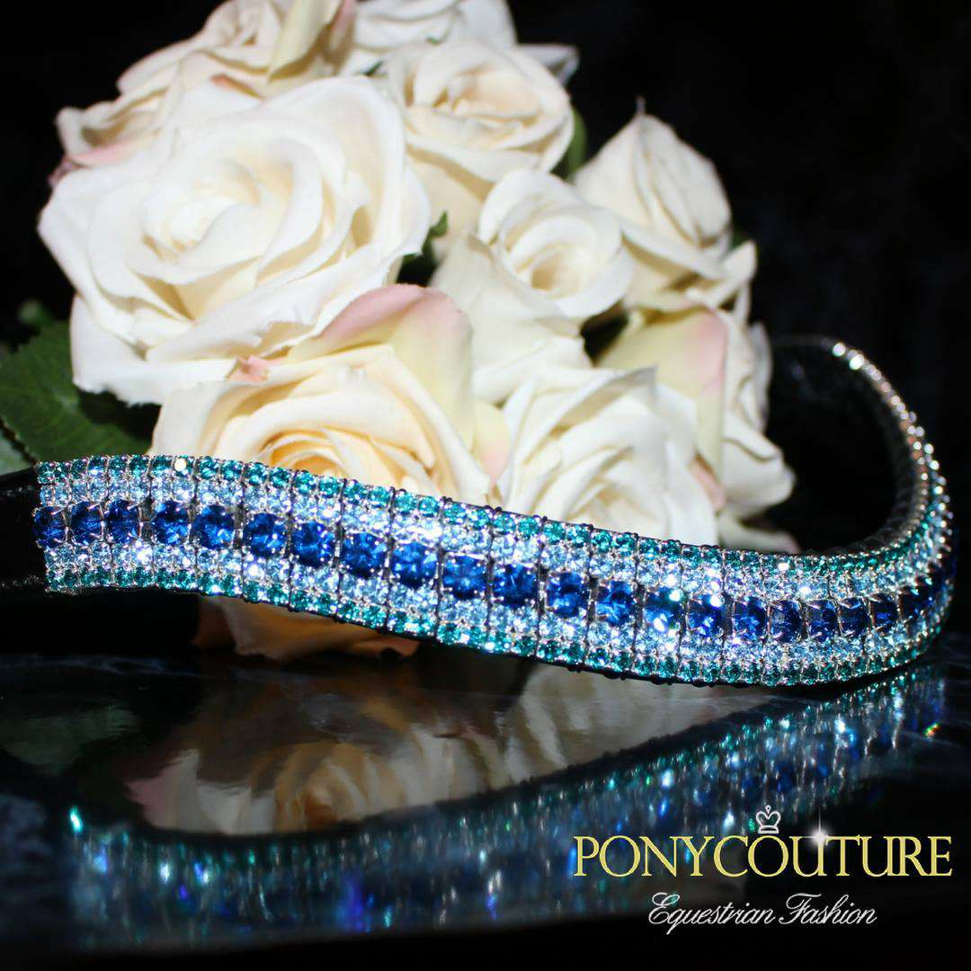 Mermaid Aqua Blue browbands cut on a wave shape bling browbands from sedgwick english leather and with blue browbands Preciosa crystals