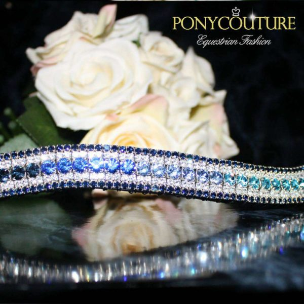 Navy Ombre Browband with bling browbands and blue browbands with a blue ombre crystal browbands