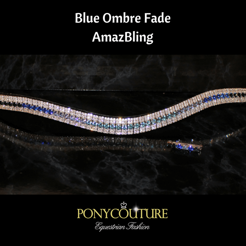 blue ombre browband on sedgwick english leather with preciosa crystals and handmade by ponycouture