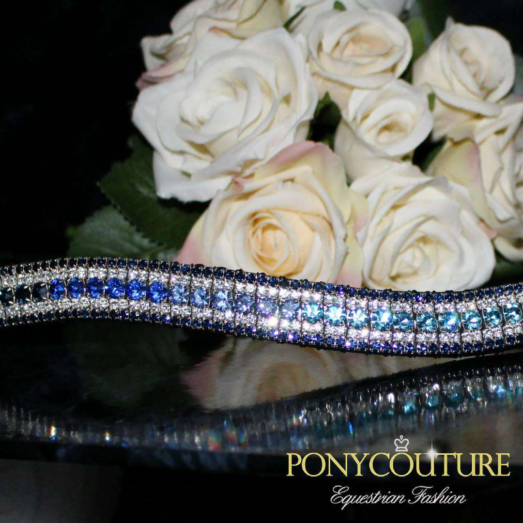 Navy Ombre Fade AmazBling browband with blue ombre browband center
