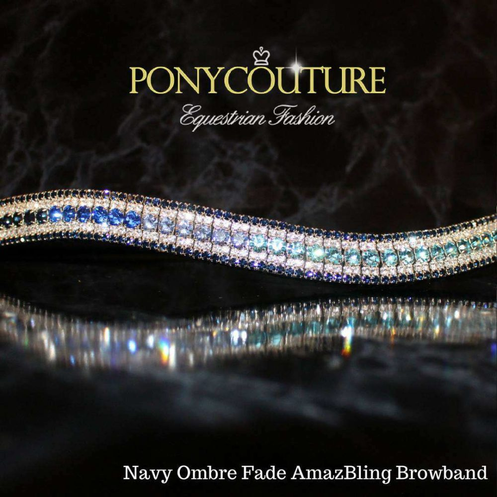 Navy Ombre browband on black back ground with blue shades ombre browband and blue ombre crystal browbands