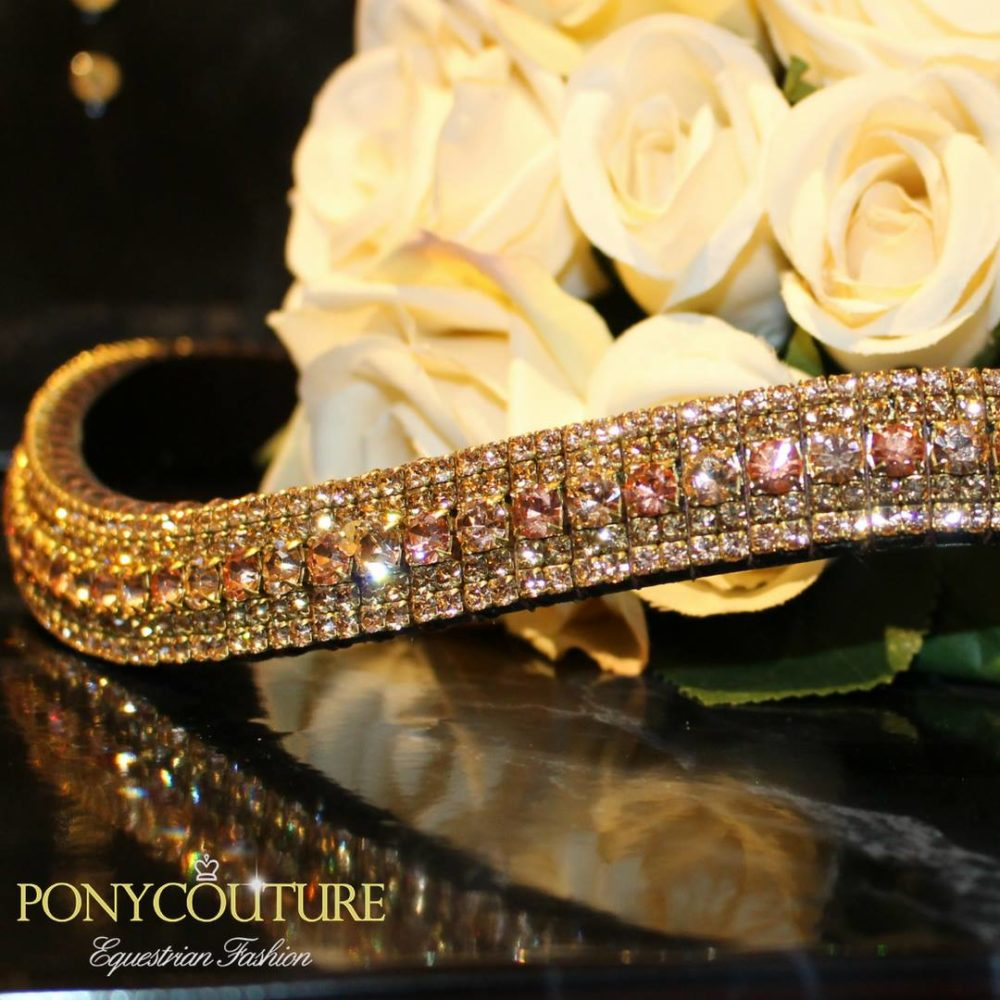 Peach and Apricot alternating crystal browbands