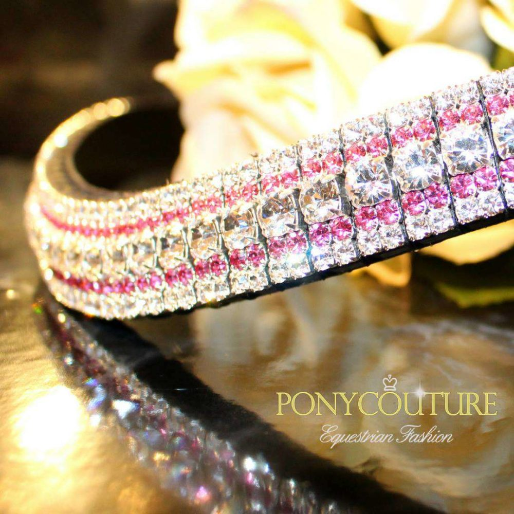 Looking for Pink Browbands? Look no further for that subtle touch of pink with this rose and clear colour streak amazBling bling browband.