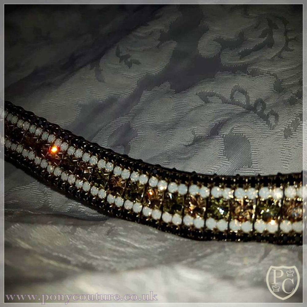 PonyCouture Special Edition Amazbling Bling Browband - opals and alternating Preciosa Czech crystals