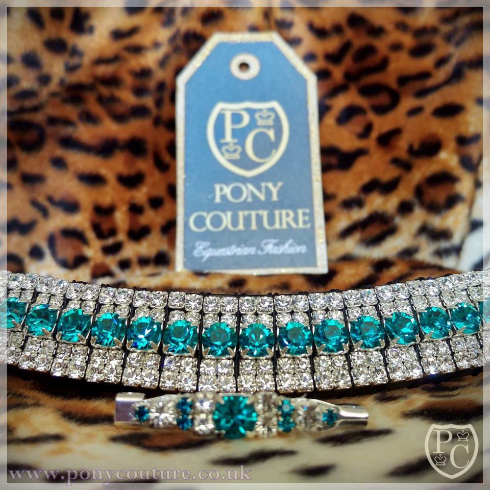 PonyCouture Blue Zircon & Clear Crystal Amazbling browband