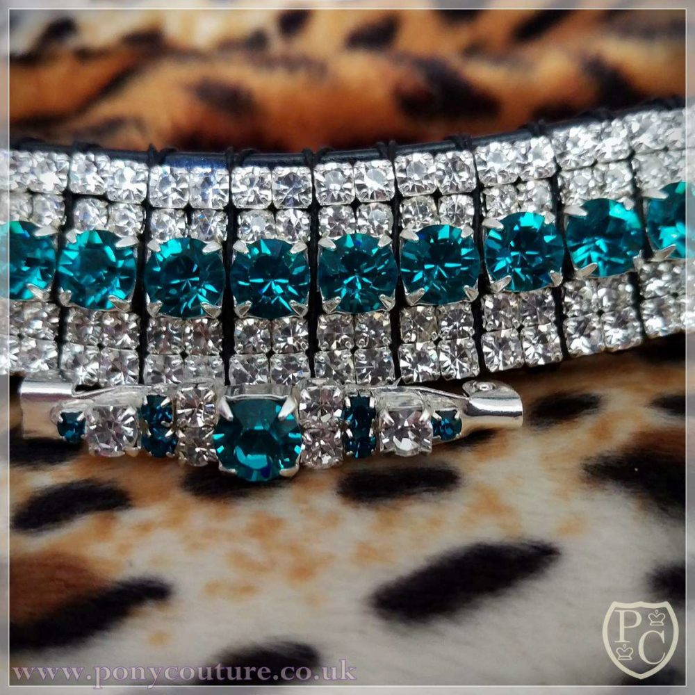 Mega Bling Turquoise and Clear Crystal Browband for sale
