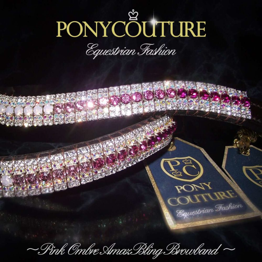 Pink Ombre Crystal Browband by PonyCouture UK hand crafted equestrian luxury
