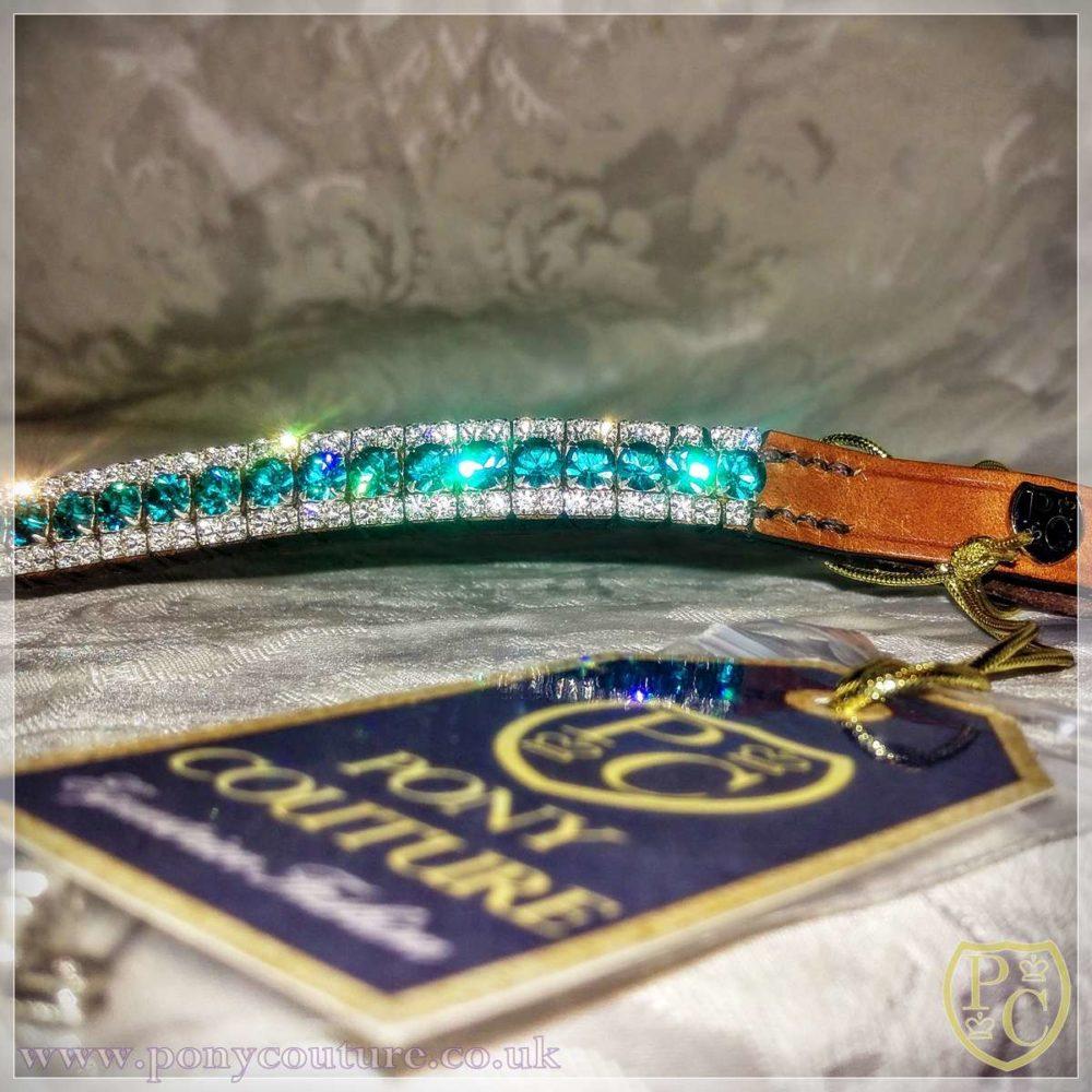 bespoke crystal browband - crystal bling browband on tan English Leather
