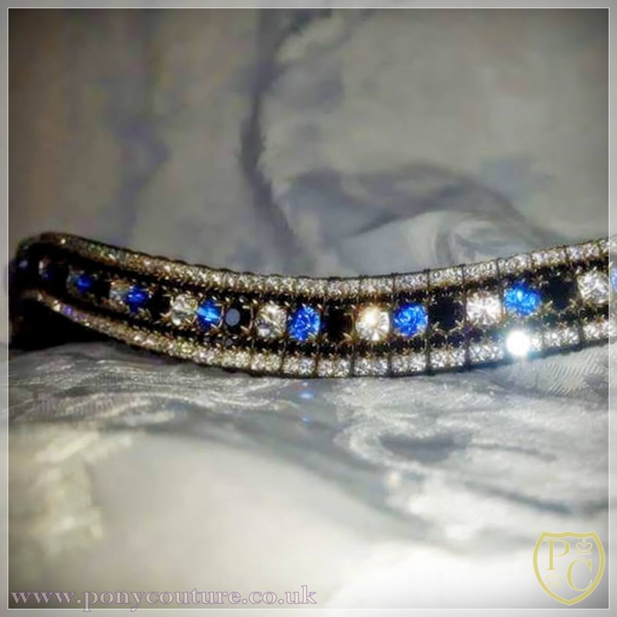 PonyCouture Pro Range crystal browbands in shades of blue