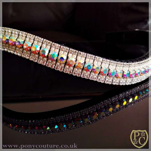 Bling Browband handmade on Sedgwick English leather and using Preciosa iridescent AB crystals and pearls.