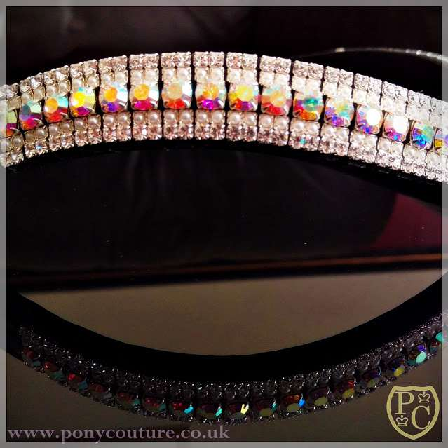 Bling crystal browband on Sedgwick English Leather with Preciosa Crystals