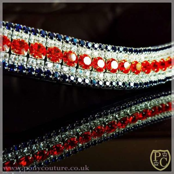 "Quality Browbands, handmade on 3/4"" Sedgwick English leather wave browband with Preciosa crystals. Perfect for Dressage, Showjumping or just to add some bling"