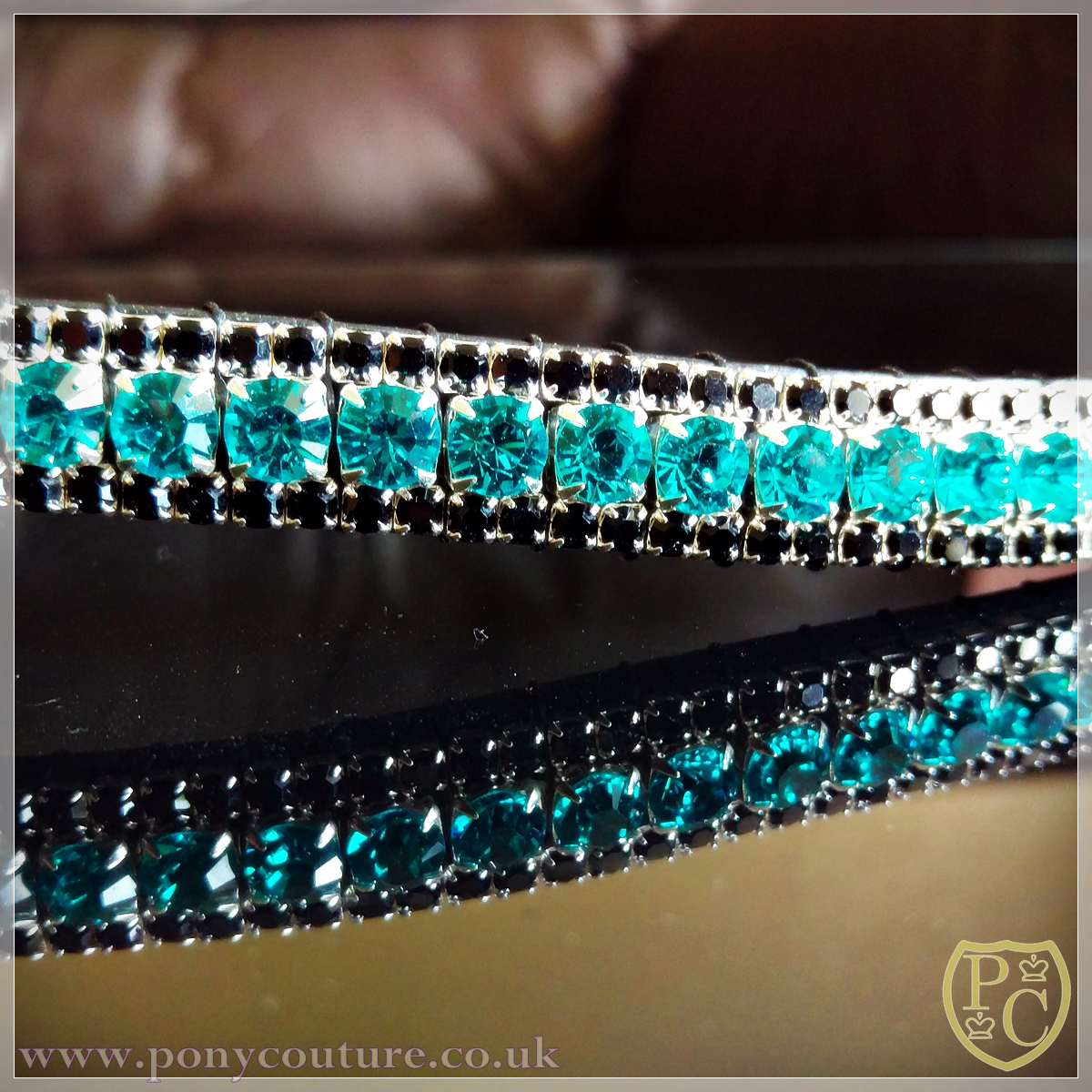Horse /& Pony Browband In Leather Teal//Blue Crystals  Design In Pony /& Cob /& Full