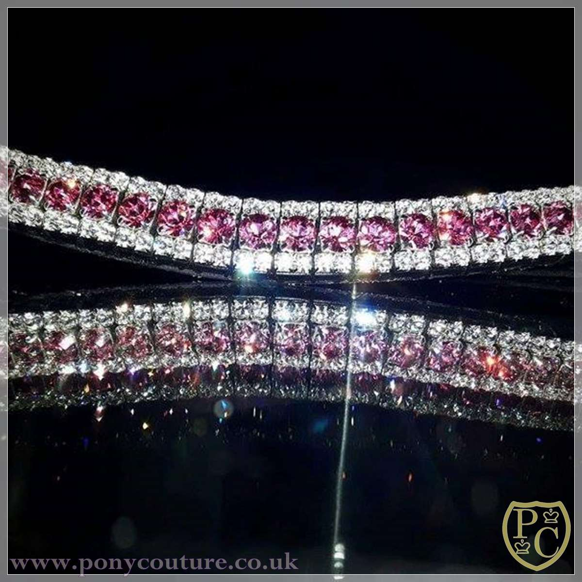 bespoke crystal browbands, English leather and Czech Preciosa crystals
