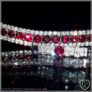 PonyCouture Siam (ruby red) & Clear Crystal browband, sliver plated setting