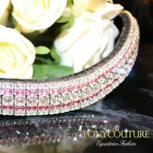 Subtle Pink Browbands with this rose and clear colour bling browband from our colour streak AmazBling range of handmade bling browbands.