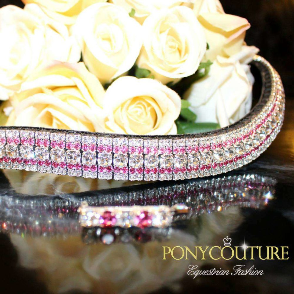 Rose and Clear Bling Browband Colour Streak pink browbands with matching pink and clear stock pin