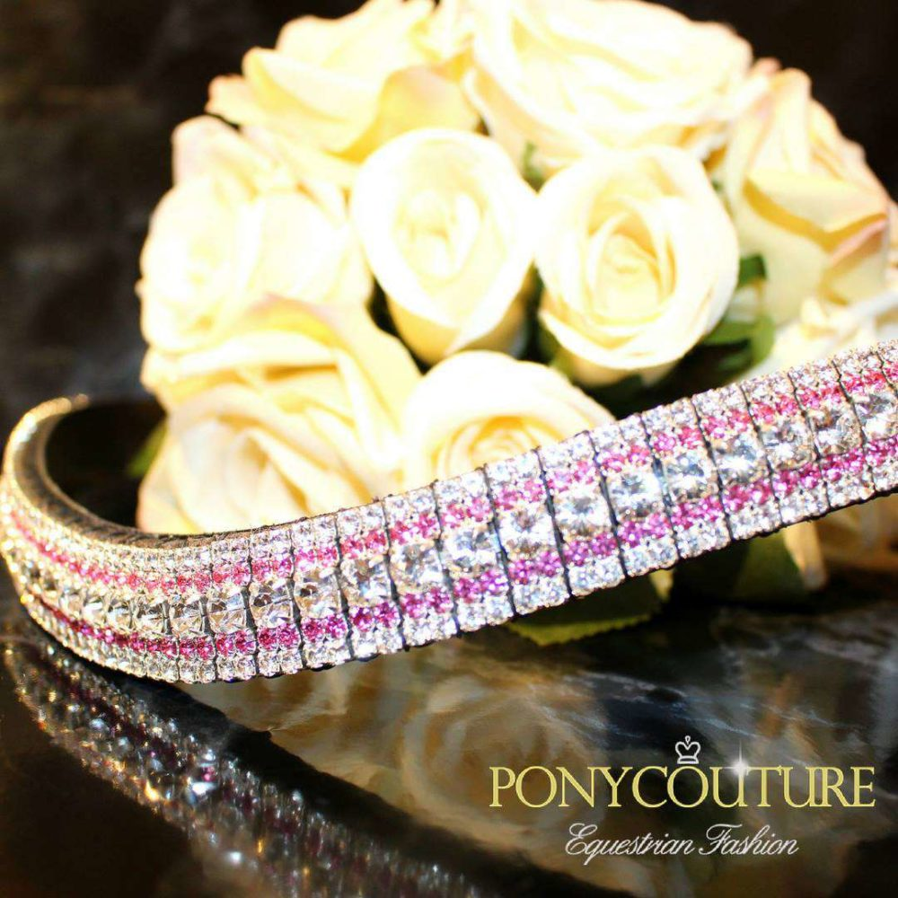 Rose and Clear Bling Browbands Colour Streak AmazBling Pink Browbands
