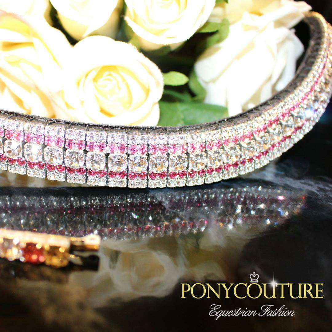 Perfect if you're looking for subtle pink browbands with this beautiful Rose and Clear colour streak AmazBling browband, handmade from PonyCouture.
