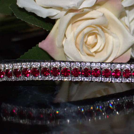 Ruby and Clear Triple Crown crystal browbands with Red and clear crystals on this red browband for dressage pony browband