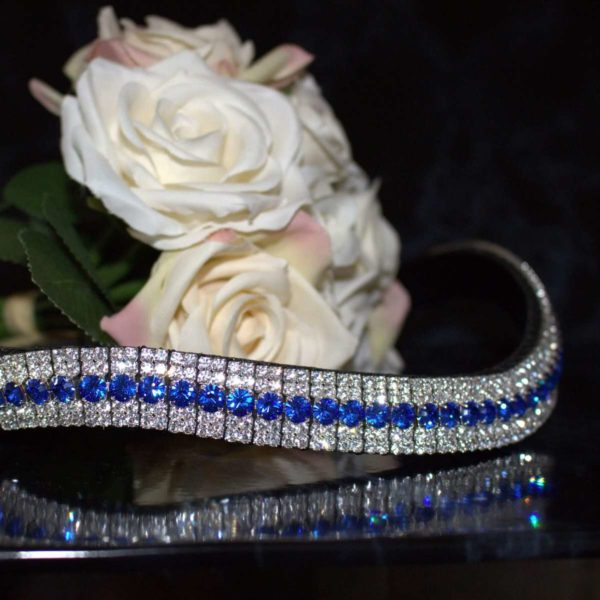 Bright blue browband with sapphire and clear crystals on this five row amazbling browband from PonyCoutures range of handmade bling browbands