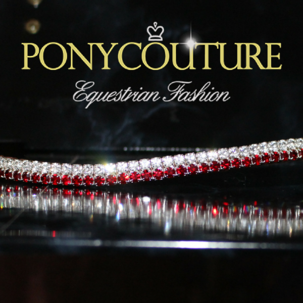 Dainty browbands from PonyCouture's Pixie browband range features two rows of Siam (deep red) and clear Preciosa crystals