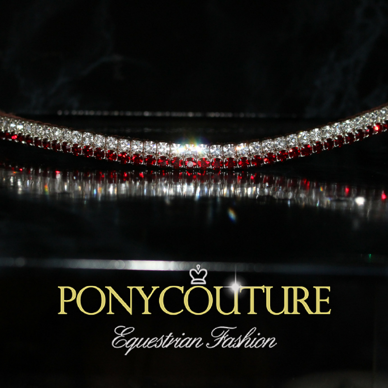 Elegant red bling browband from PonyCouture's Pixie browband range. Dainty browband for tasteful bling