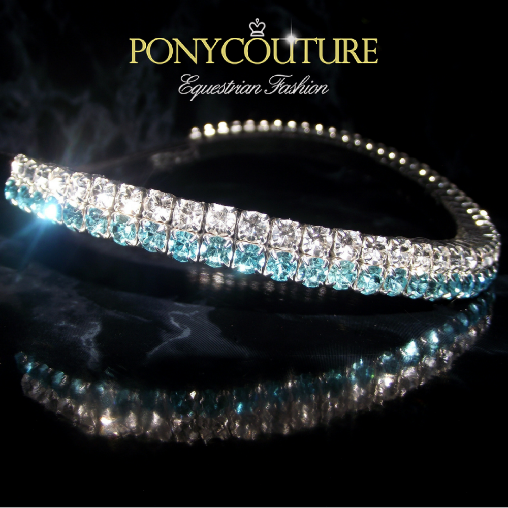 Elegant browband with aquamarine and clear crystals on a double row Pixie browband, handmade browband from PonyCouture on sedgwick English leather and featuring Preciosa crystals